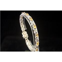 Lavish Golden Sapphires Silver Bracelet