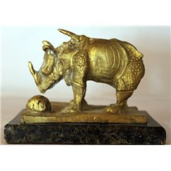 Rhinoceros - Gold over Bronze Sculpture -  after Salvador Dali