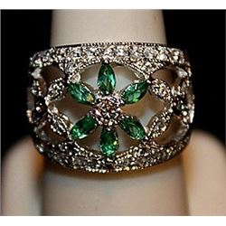 Beautiful Lab Emeralds, White Topaz & Sapphires SS Ring. (563L)