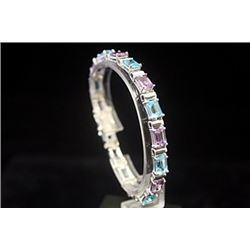 Fancy Amethyst & Blue Topaz Silver Bracelet