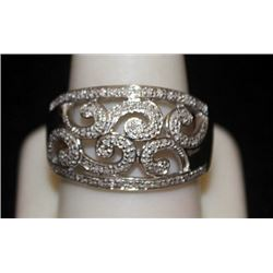 Beautiful Silver Antique Style Ring with Diamonds (114I)