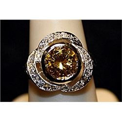 Fancy Golden Lab Sapphire SS Ring. (550L)