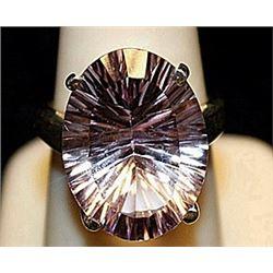 Beautiful Lab Kunzite Sterling Silver Ring. (219L)