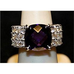 Gorgeous Amethyst & White Topaz SS Ring. (555L)