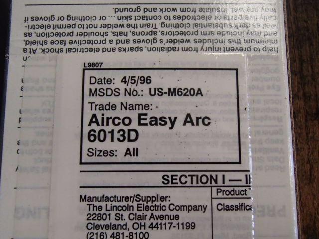 Airco Easy Arc 1 8 Electrodes P N 6013D
