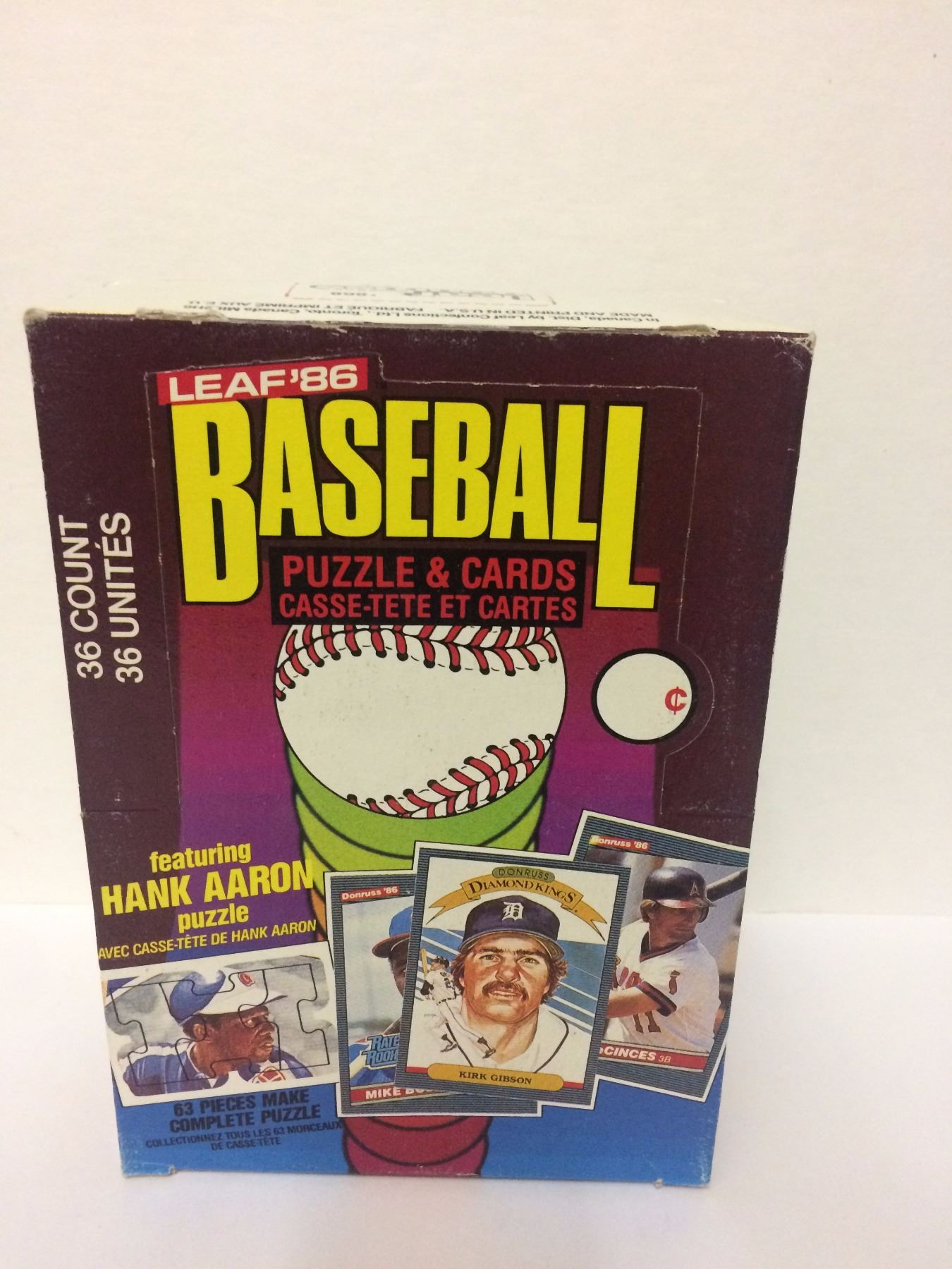 1986 Leaf Baseball Puzzle Cards Set 36 Units Featuring Hank Aaron Puzzle