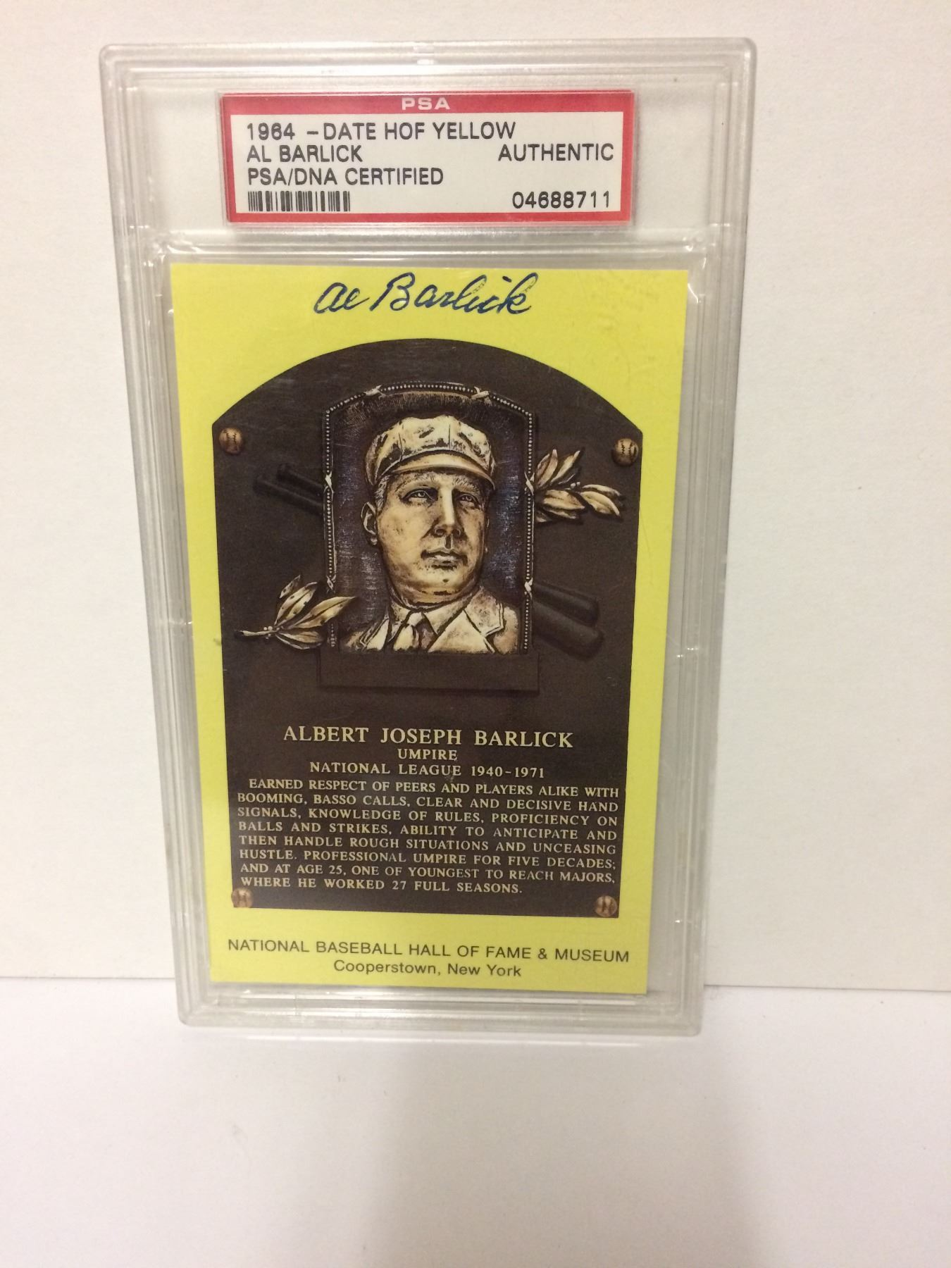 Autographed 1964 Date Hof Yellow Al Barlick Psadna Certified Baseball Trading Card Authentic