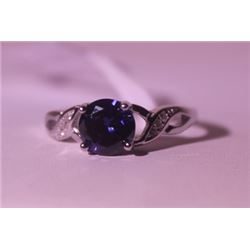 Exquisite Sterling Silver Ring with Lab Blue Sapphire