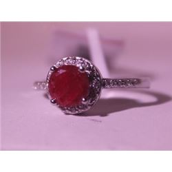 Exquisite Sterling Silver Ring with Pigeon Blood Ruby