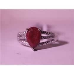 Exquisite Sterling Silver Ring with Pear Cut Pigeon Blood Ruby