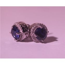 Exquisite Sterling Silver Earrings with Blue Sapphire