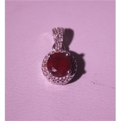 Exquisite Sterling Silver Pendant with Pigeon Blood Ruby