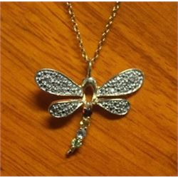 Beautiful Dragonfly Pendant with Diamond