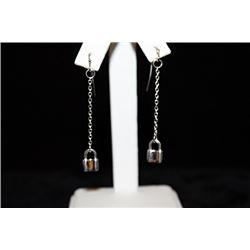 Lady's Fancy Lock Silver Earrings (41E)