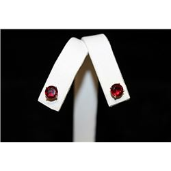 Gorgeous Red Gemstone Silver Stud Earrings (45E)