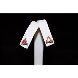 Fine Pink Gemstone Stud Earrings (46E)