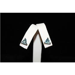 Elegant Blue Gemstone Silver Stud Earrings (52E)
