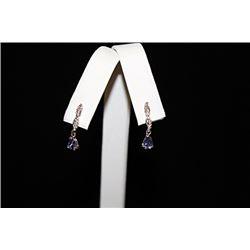Fine Light Blue Gemstone Silver Earrings (56E)