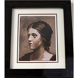 Framed Pablo Picasso-Olga Lithograph (3E-EK)