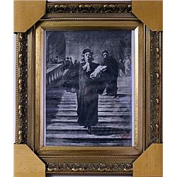 Framed Honoré Daumier-The Grand Staircase of the Palace of Justice Engraving (31E-EK)