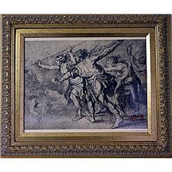 Framed FRATELLI ALINARI- FIRENZE VIA NAZIONALE Engraving (34E-EK)