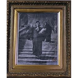 Framed Honoré Daumier-The Grand Staircase of the Palace of Justice Engraving (44E-EK)