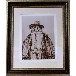 Framed Rembrandt van Rijn-Portrait I LE Lithograph (58E-EK)