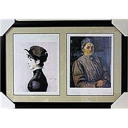 Framed 2-in-1 Edouard Manet and Paul Cézanne Lithographs (139E-EK)
