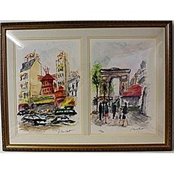 Framed 2-in-1 Urbain Huchet Lithographs (150E-EK)