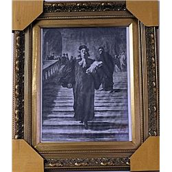 Framed Honoré Daumier-The Grand Staircase of the Palace of Justice Engraving (29E-EK)