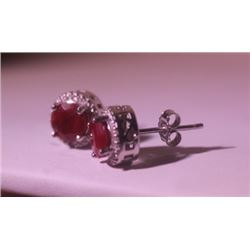 Exquisite Sterling Silver Earrings with Pigeon Blood Ruby