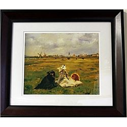 Framed Edouard Manet - The Swallows Lithograph (61E-EK)