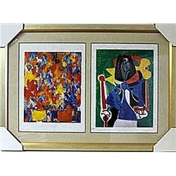 Framed 2-in-1  Jasper Johns and Picasso Lithographs (138E-EK)