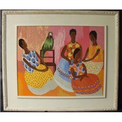 """""""NEEDLEPOINT SCENE OF WOMEN AND PARROT"""" Framed Tapestry (N)"""