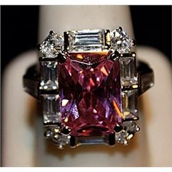 Gorgeous Pink Sapphire & White Topaz SS Ring. (564L)