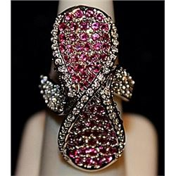 Fancy Pink Sapphires & White Topaz SS Ring. (565L)