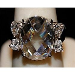 Gorgeous White Spinel & Topaz SS Ring. (567L)