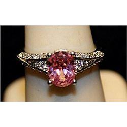 Beautiful Pink Sapphire & White Topaz SS Ring. (724L)