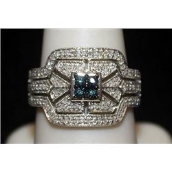 Beautiful Silver Ring with Lab Alexandrite & Diamonds (147I)