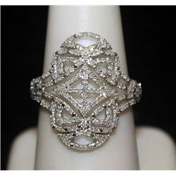Beautiful Silver Antique Style Ring with Cluster Diamonds (151I)