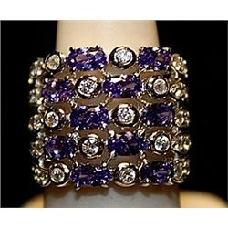 Fancy Tanzanites & White Topaz SS Ring. (753L)