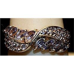 Beautiful Tanzanites Sterling Silver Ring. (249L)