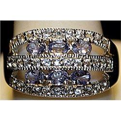 Fancy Tanzanites & White Sapphires SS Ring. (250L)