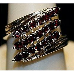 Fancy Pigeon Blood Rubies Sterling Silver Ring. (171L)