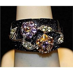 Beautiful Black Onyx with Multi Colored Stones SS Ring. (222L)