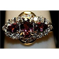 Fancy Rubies & White Sapphires SS Ring. (155L)