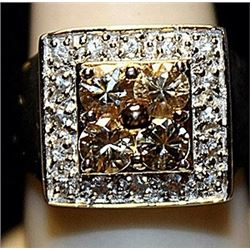 Beautiful Golden & White Sapphires SS Ring. (167L)