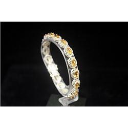 Gorgeous Golden Sapphires Silver Bracelet