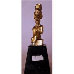 Portrait of Picasso - Gold over Bronze Sculpture -  after Salvador Dali