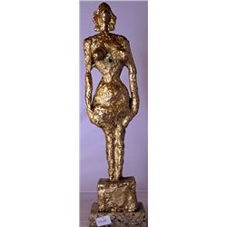Standing Still - Gold over Bronze Sculpture - after Alberto Giacometti